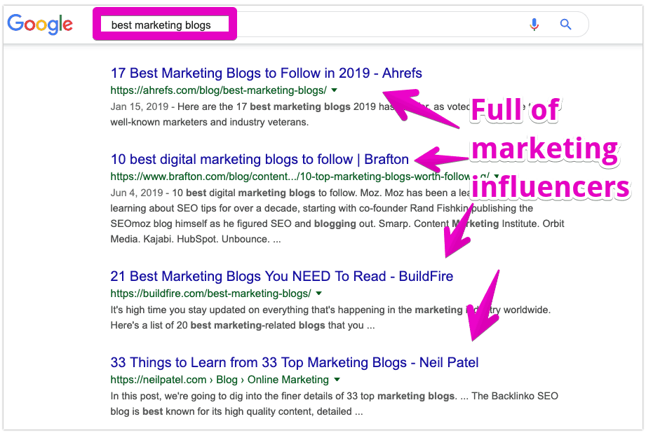 Best marketing blogs Google search