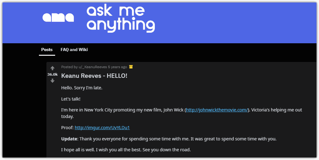 Keanu Reeves AMA promotion