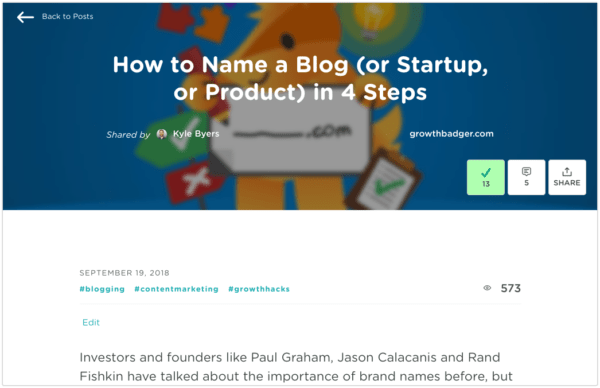 GrowthHackers - Blog Names post