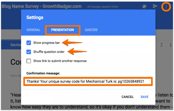 Website name survey settings in Google Forms